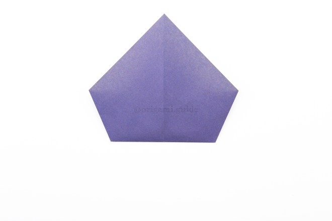 7. Fold the bottom point up to the top point.
