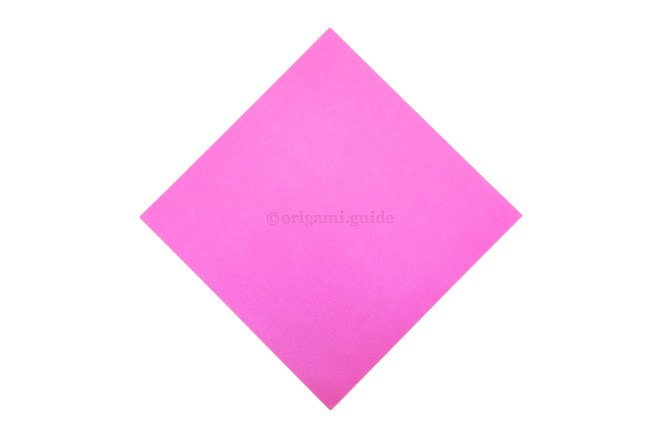 2. This is the front of our origami paper, this will be the main colour of the candy box.