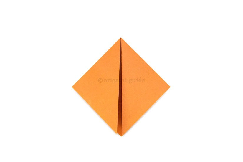 6. Fold the top left and right points diagonally down to the bottom point.
