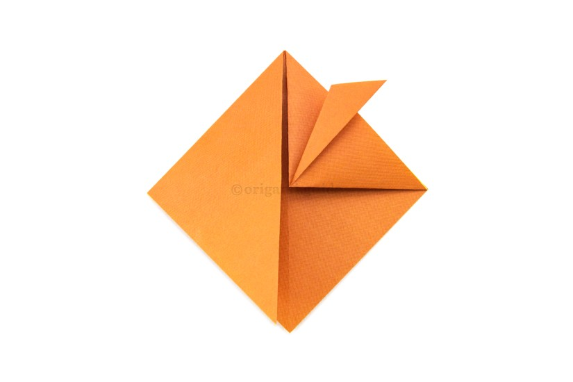 8. Fold the top point of the right flap diagonally out to the right a little.