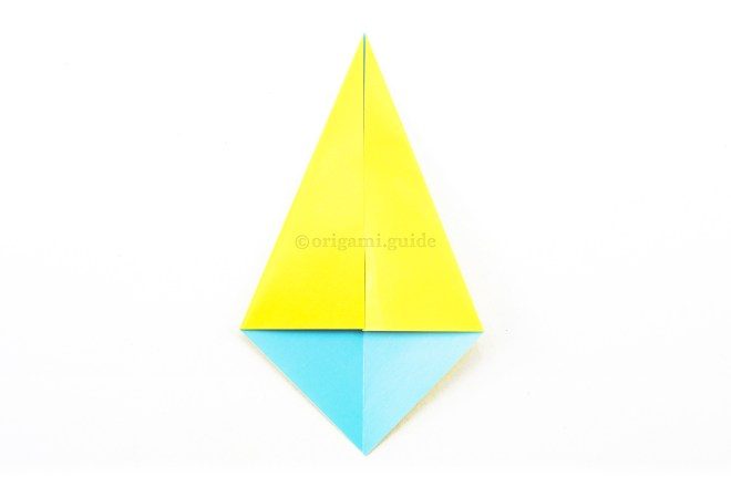 5. Fold the top diagonal left and right edges diagonally in to align with the central crease.