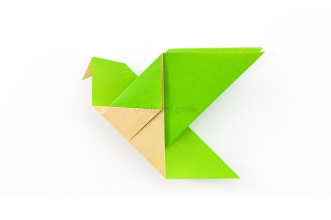 14. Flatten the head and beak and the origami bird is complete.