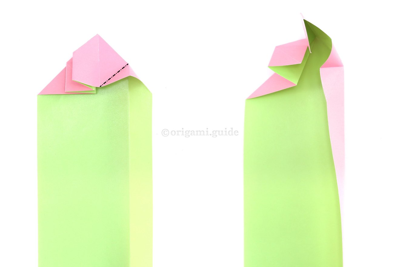 Create a new diagonal crease where indicated and then fold the right section back in, reverse folding the new diagonal crease.