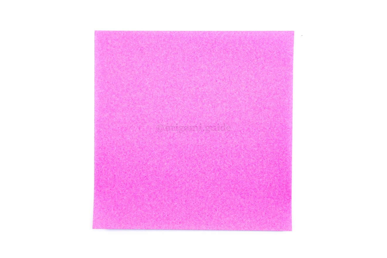 1. This is the back of our origami paper, if using regular origami paper, it's usually white.