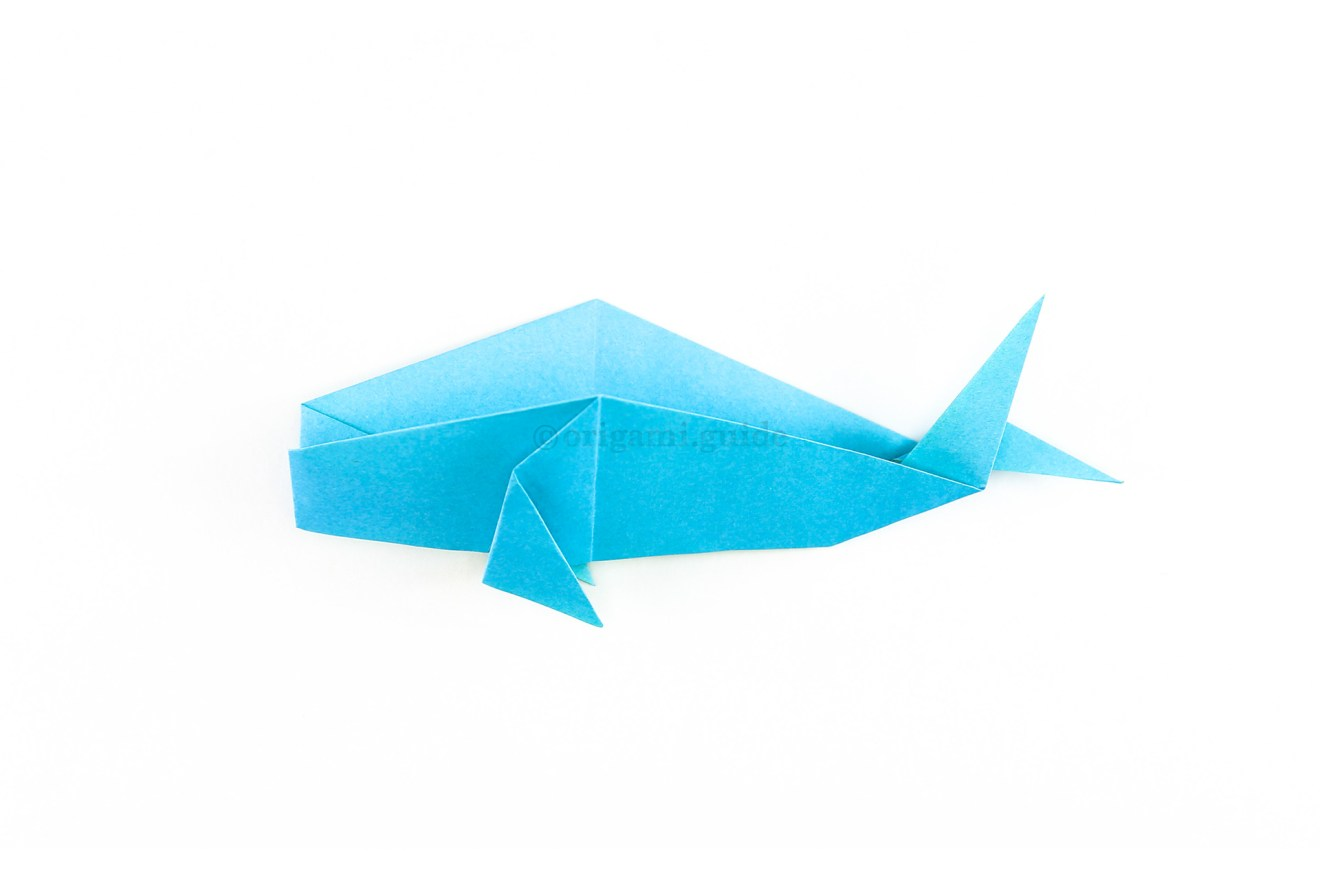 Start by making an origami whale. Click here for the tutorial.