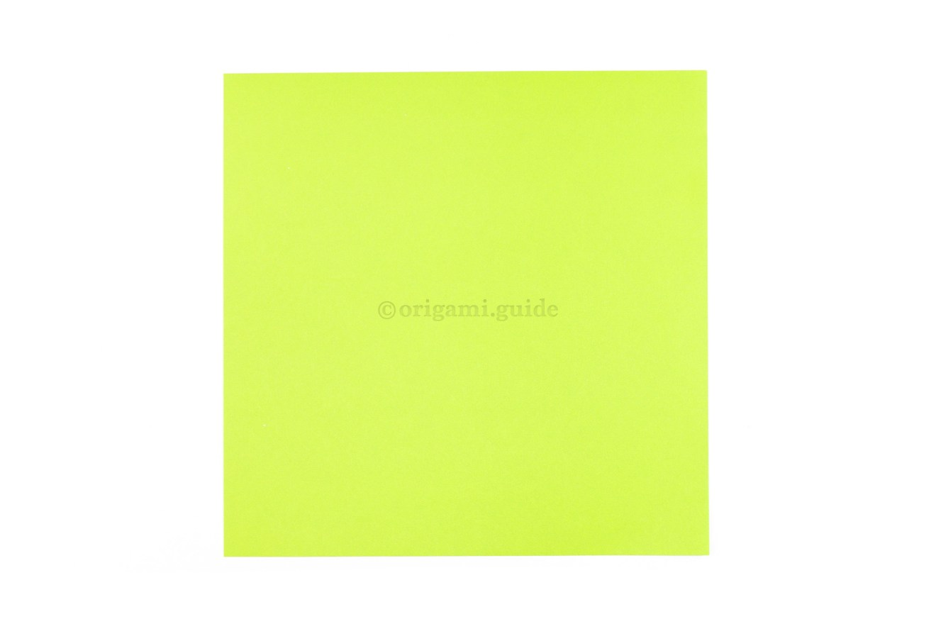 This is the front of our origami paper, our origami turtle will end up this color.