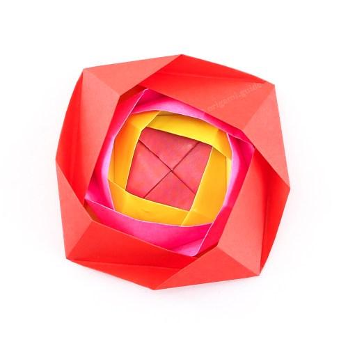 Nested Origami Camellia Flower Rosette Tutorial