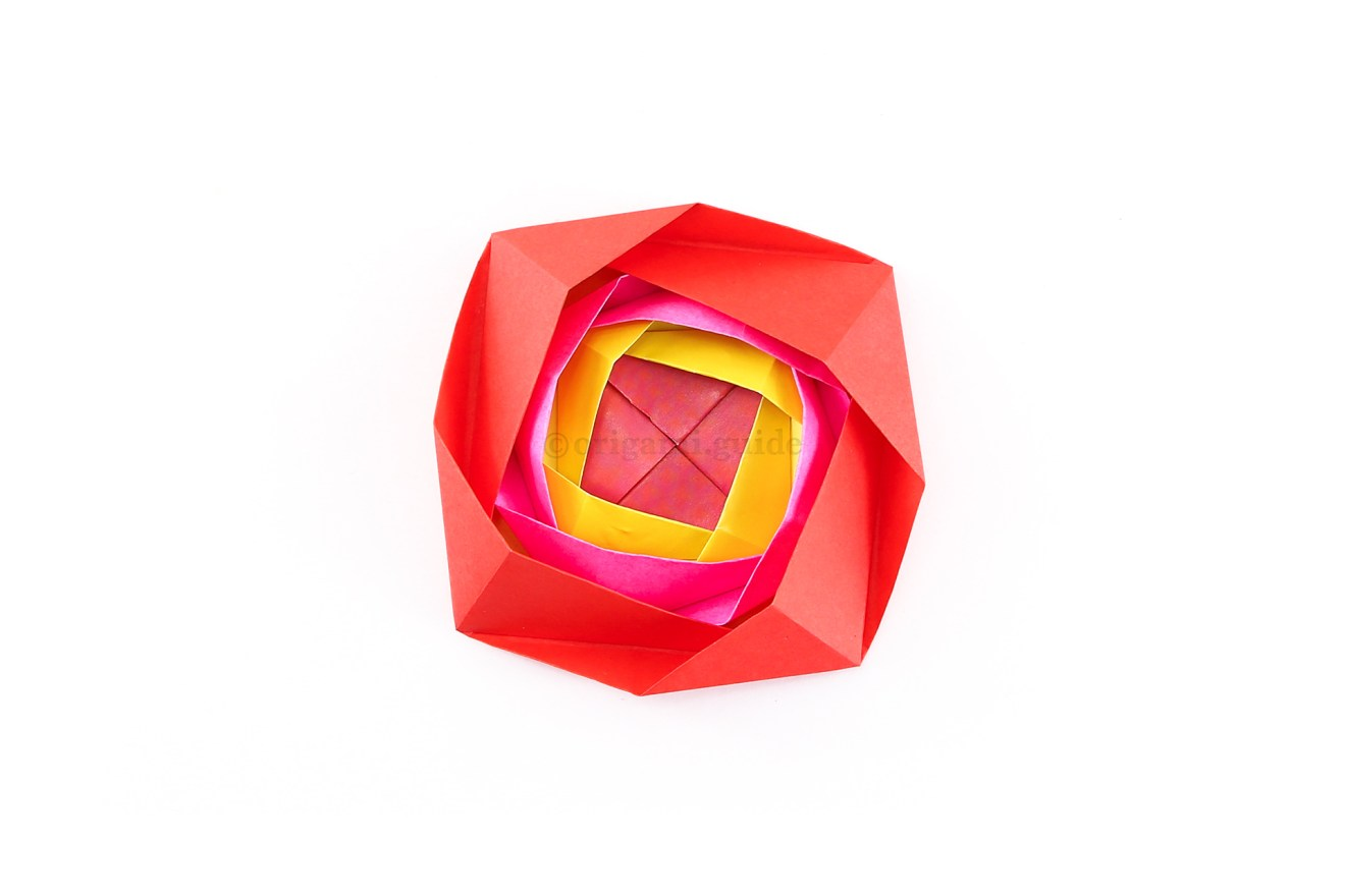 To make it look three-dimensional, pop-out all three petal areas of the flower.