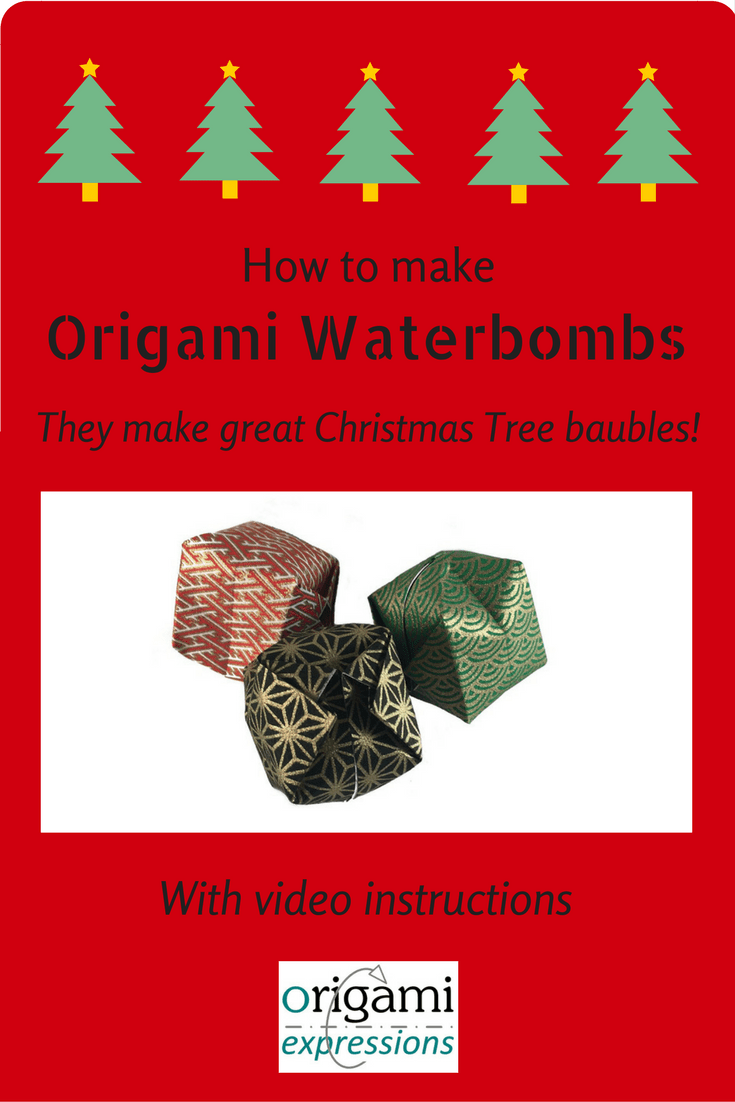 The traditional Origami Waterbomb & how you can use a few of them to make great decorations for the Christmas tree. With video instructions!