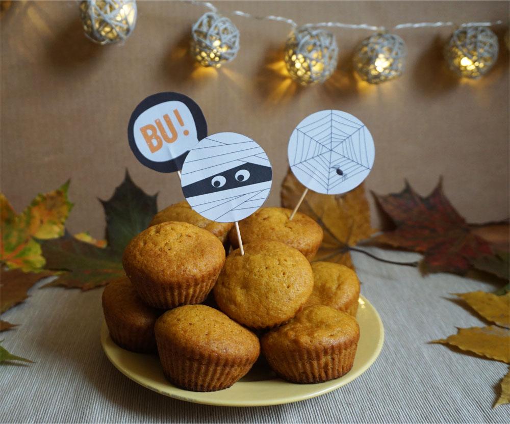 Halloween papilotki i dekoracje do babeczek do druku