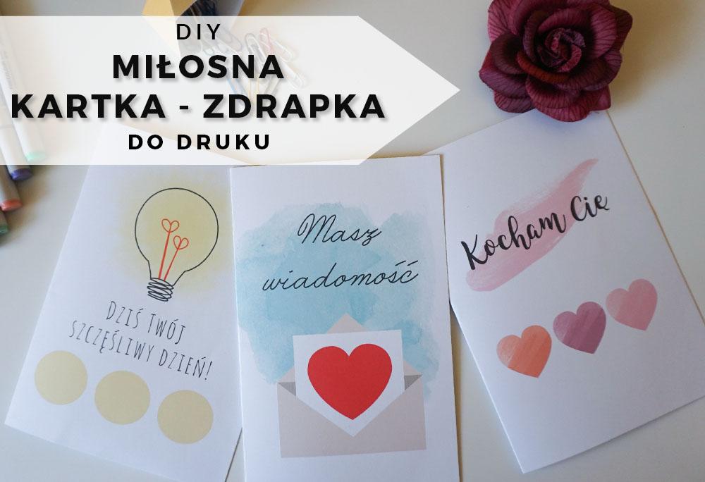 DIY Miłosne kartki zdrapki + 3 wzory do druku