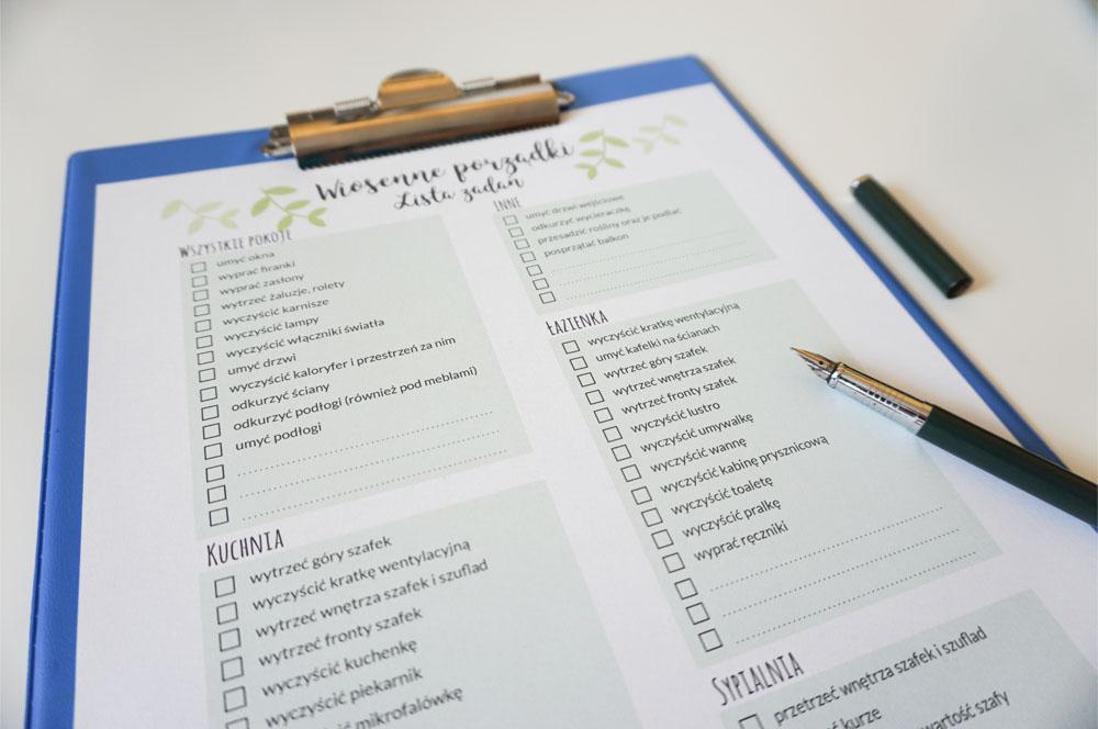 Wiosenne porządki, lista zadań do druku