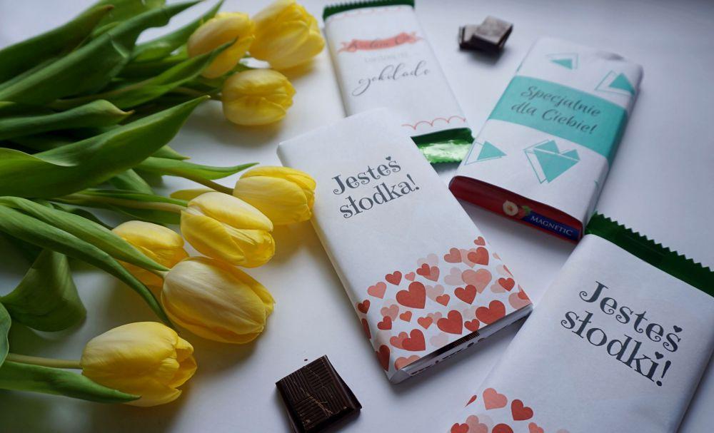 DIY Miłosne etykiety na czekoladę do druku tani prezent
