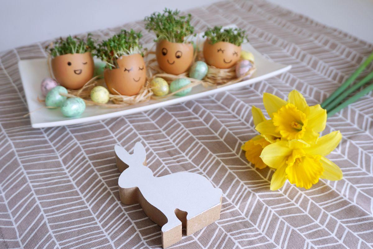 DIY Wielkanocna ozdoba z rzeżuchą