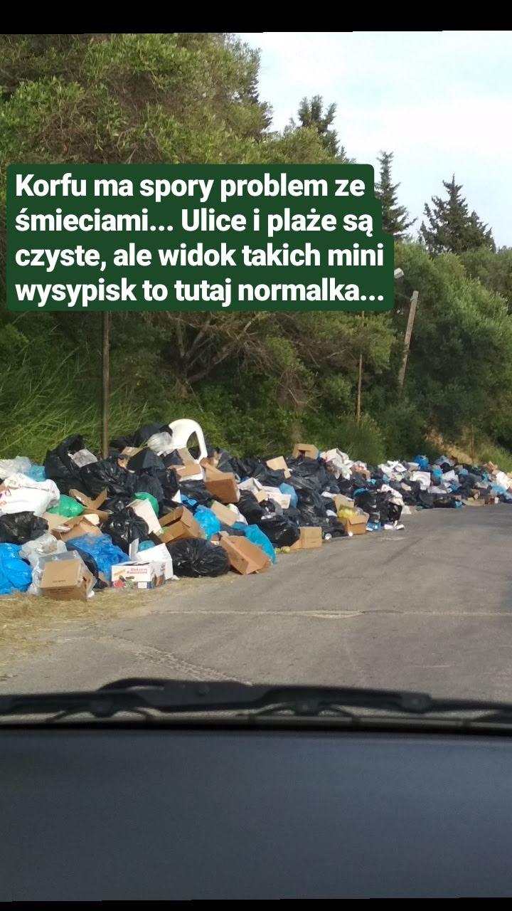 Korfu 2018 - informacje, ciekawostki, transport - śmieci na Korfu