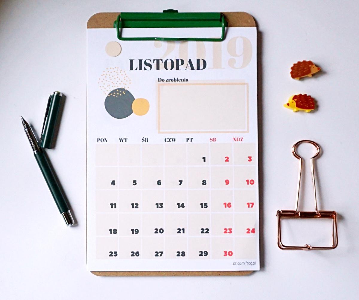 Kalendarz 2019 do druku miesięczny