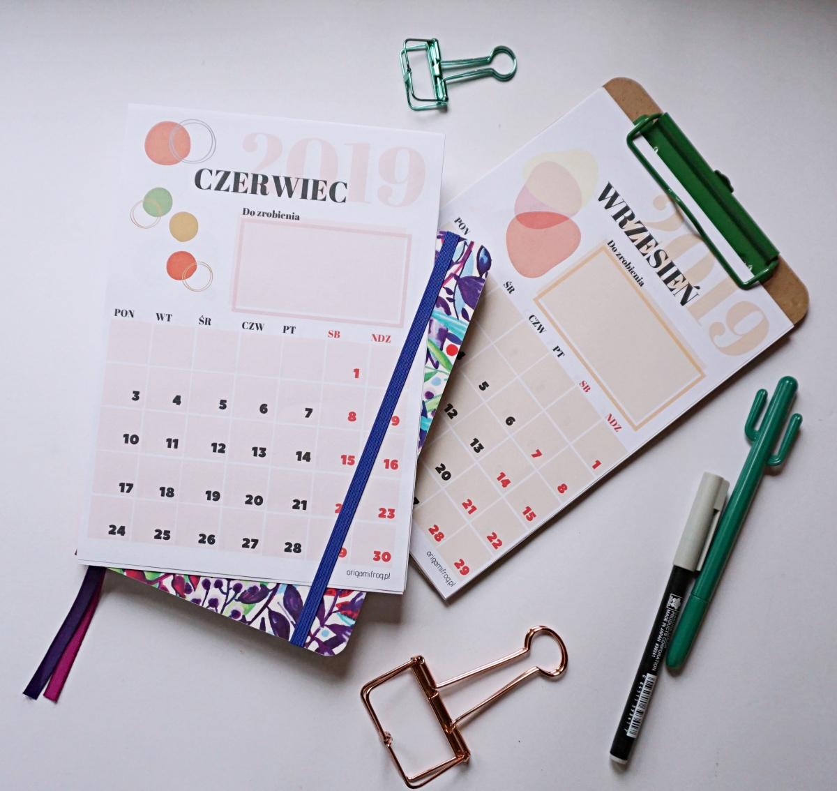 Kalendarz 2019 do druku bullet journal