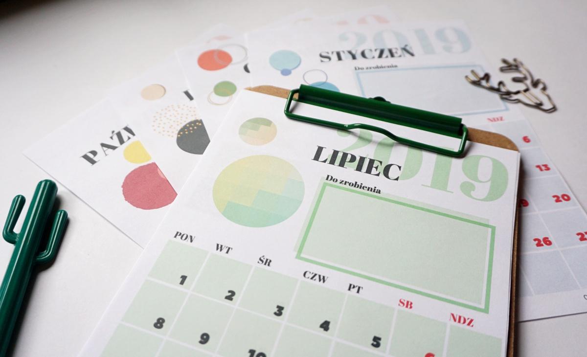 Kalendarz 2019 do druku A5 Styczeń Lipiec