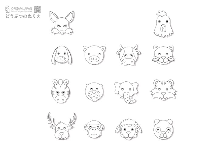 かわいい動物の顔の塗り絵14匹幼児子供向け無料ダウンロード