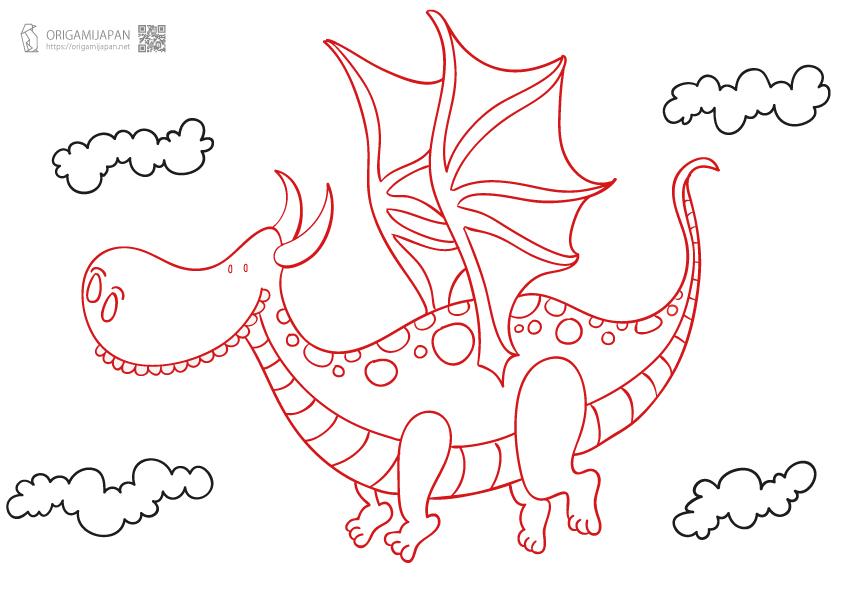 かわいい『ドラゴン』のぬりえ