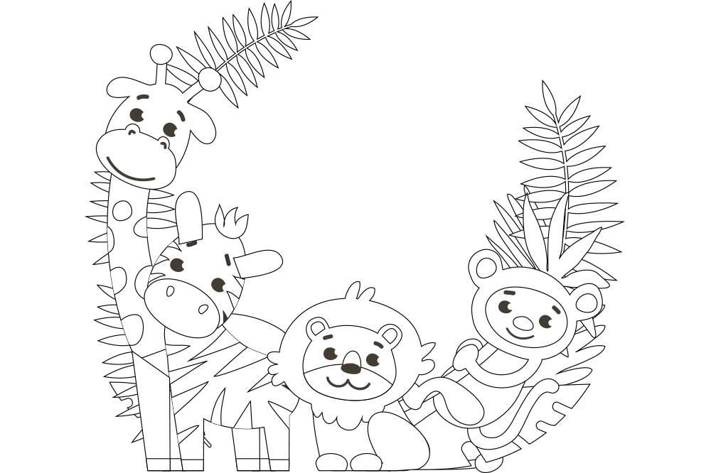 かわいい動物4匹』の塗り絵|無料ダウンロード・印刷 | 折り紙japan