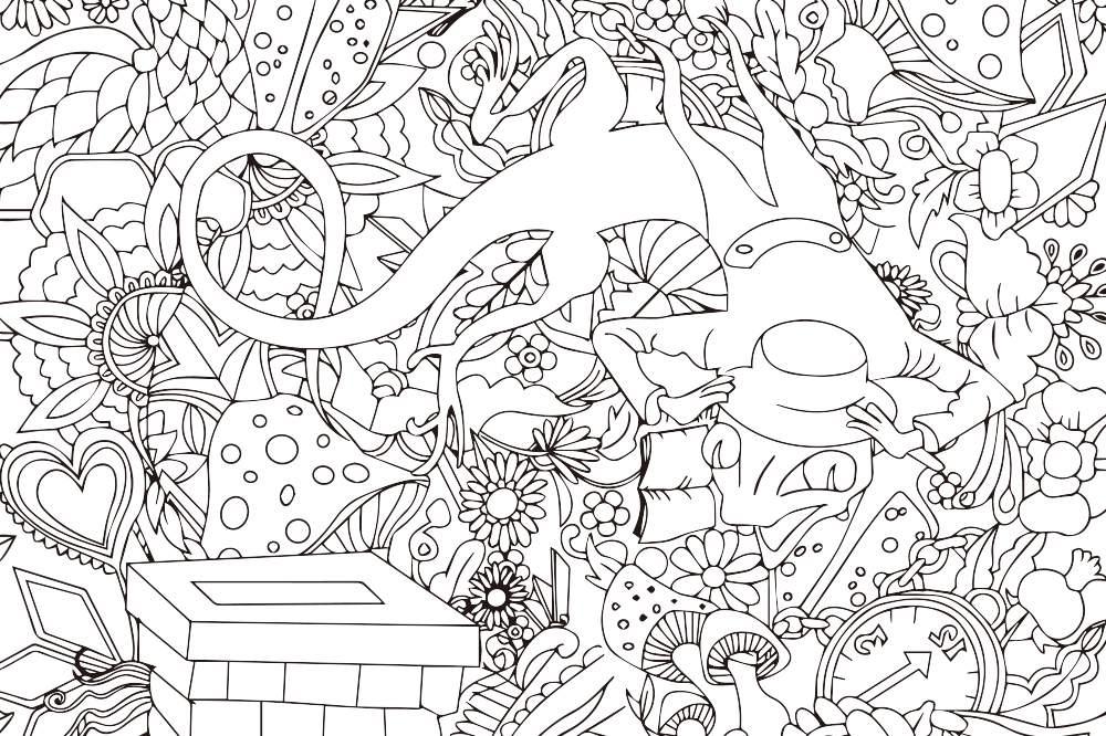 『大人の塗り絵 - ファンタジーなカエル』- 無料プリント|高齢者の脳トレ&レク