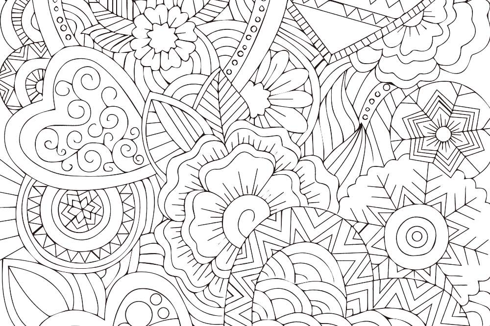 『大人の塗り絵 - ファンタジーなハート』- 無料プリント
