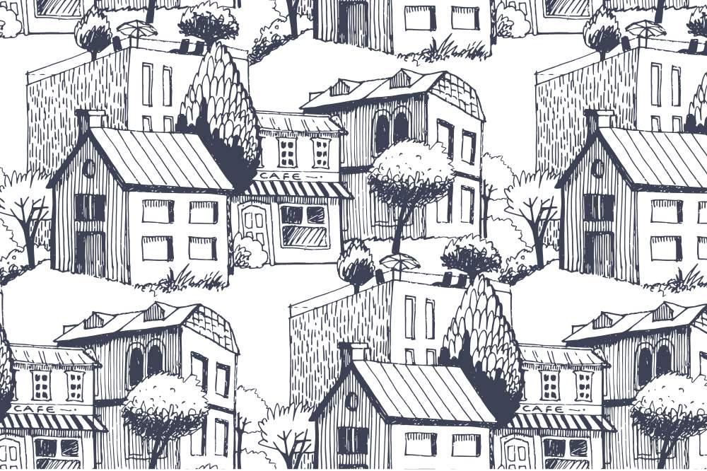 『大人の塗り絵 - たくさんの家(町並み)』- 無料プリント|高齢者の脳トレ&レク