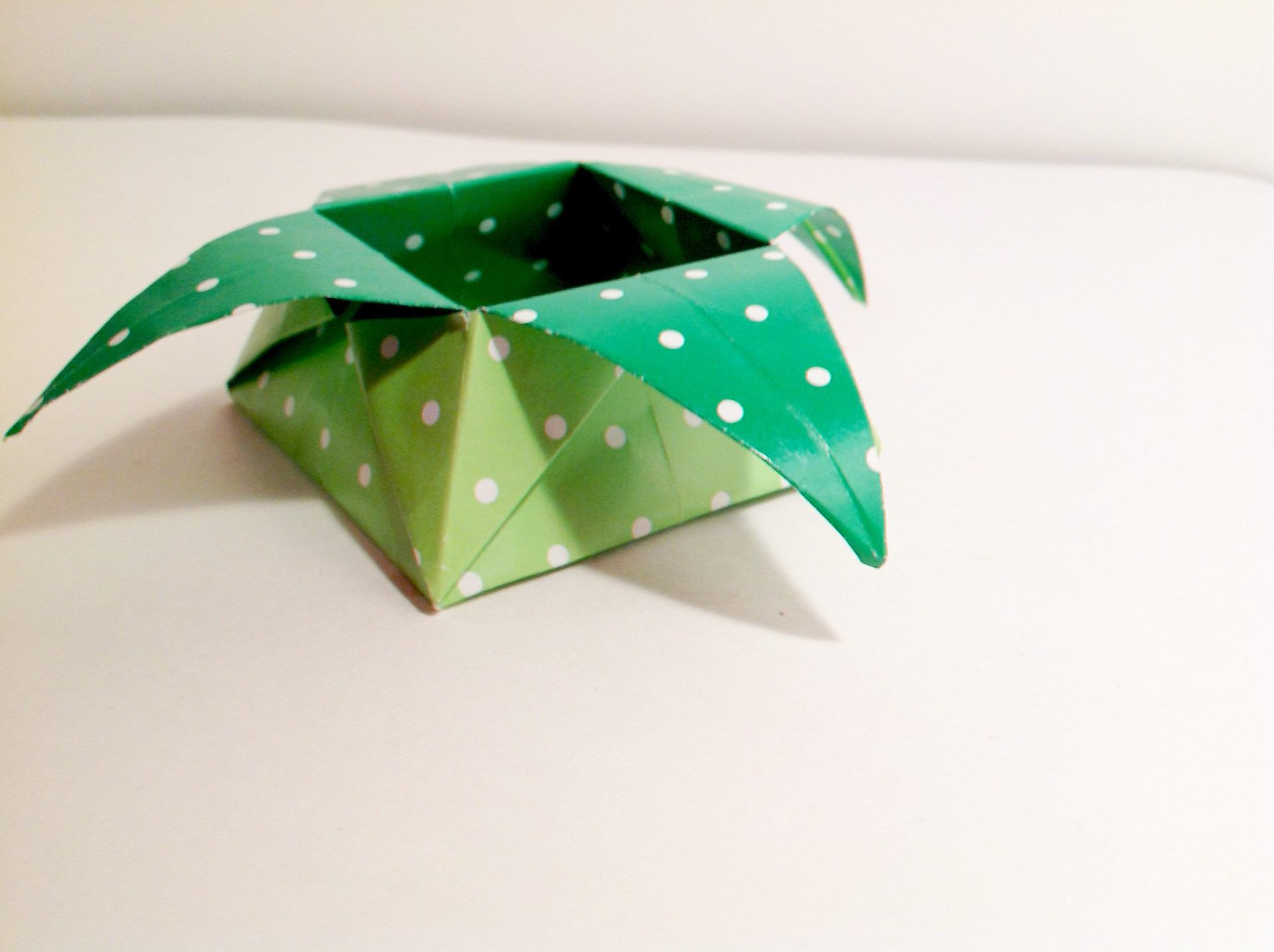 Green Polka Dot Star Shaped Origami Box by Carrie Gates