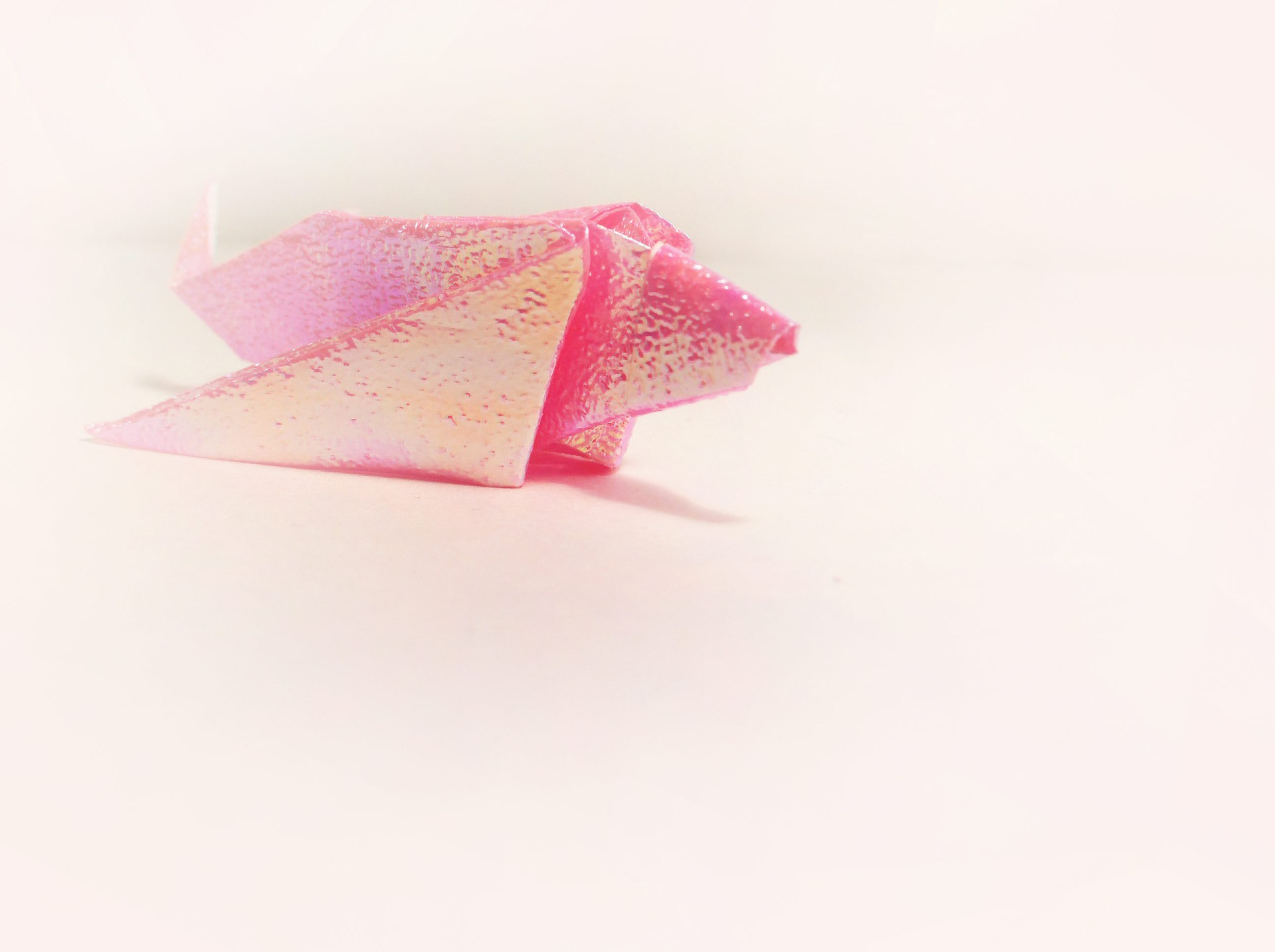 Pink Iridescent Origami Fish by Carrie Gates