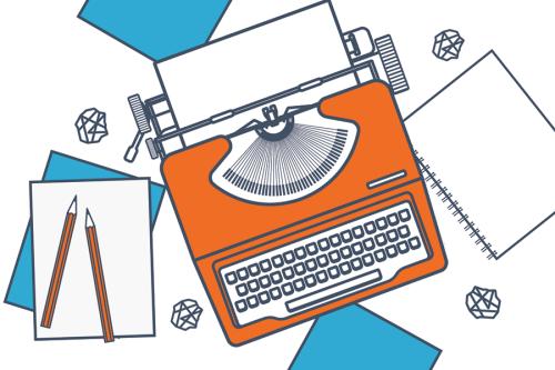 typewriter drawing