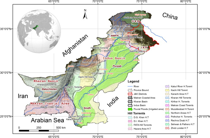 Map of Pakistan, its drainage and flood zones
