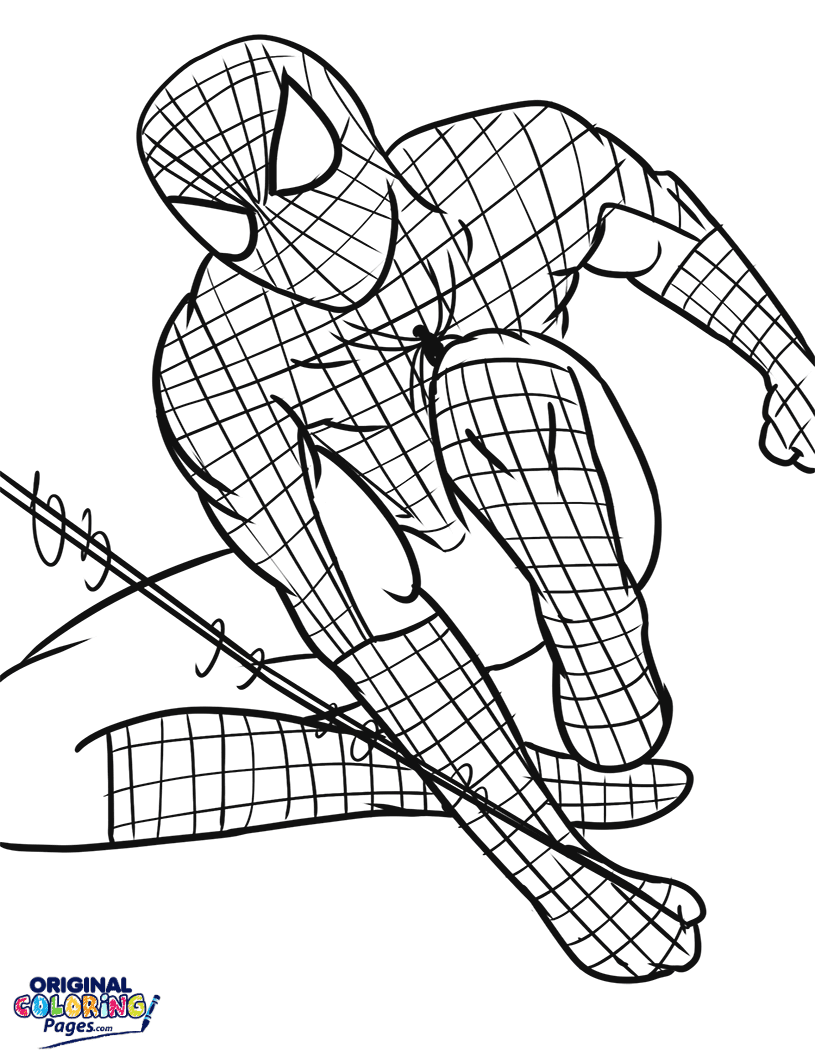 Spiderman Web Swinging Coloring Page Coloring Pages Original Coloring Pages