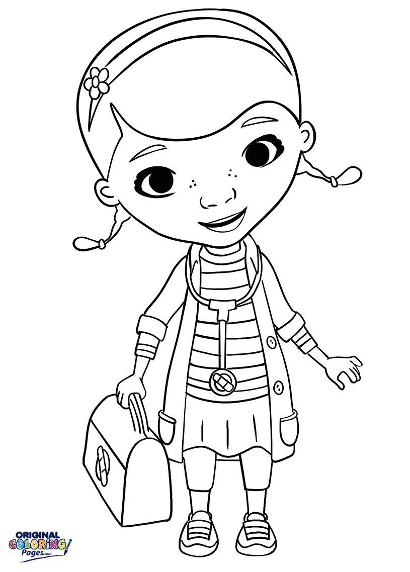 Doc Mcstuffins Stethoscope And Doctor Bag Coloring Page Coloring