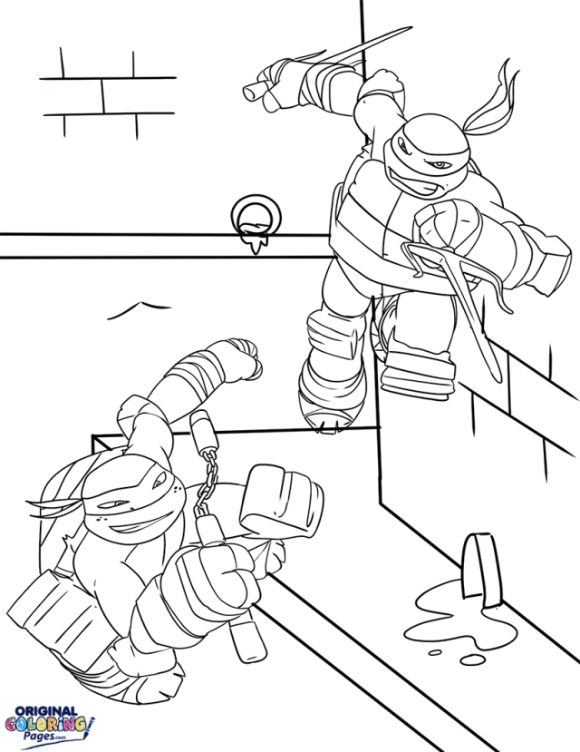 Raphael and Michelangelo Ninja Turtles Coloring Page  Coloring