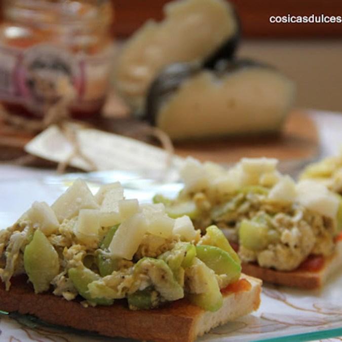 Receta Tosta de calabacín con queso de cabra
