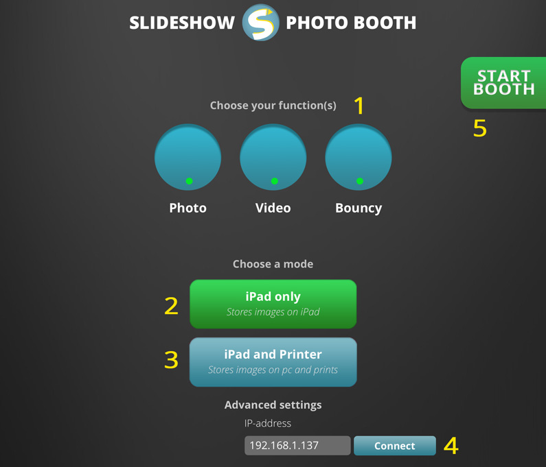 Slideshow Photo Booth app settings - Slideshow Photo Booth