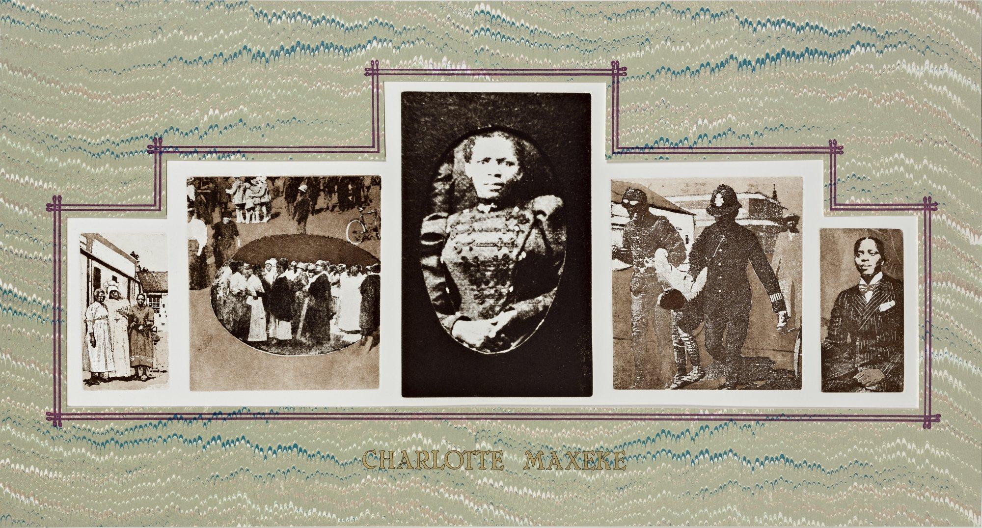 Sue Williamson Charlotte Maxeke, 1984 Série A few South Africans (1983-1987) Photogravure, collage sérigraphique, 56 x 96 cm Courtesy de l'artiste et de la Goodman Gallery