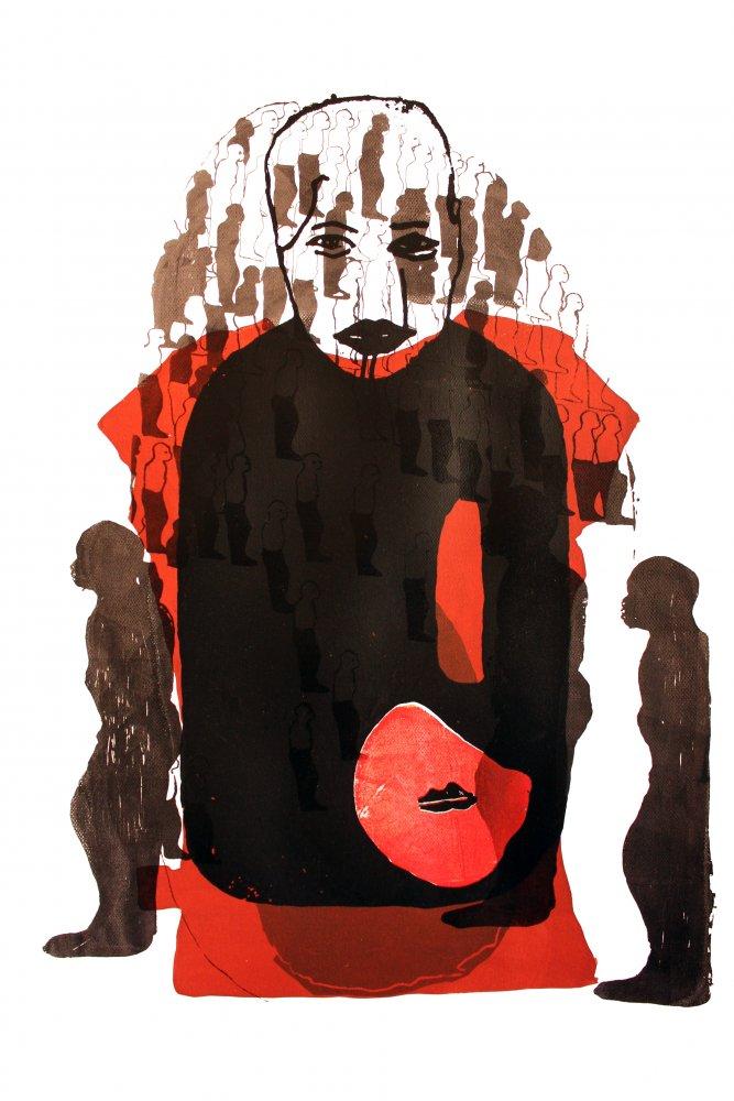 Virginia Chihota where do we go that we know of (toe depi kwatinoziva), 2013, sérigraphie sur papier, 100 x 70 cm Courtesy de l'artiste et de Tiwani Contemporary