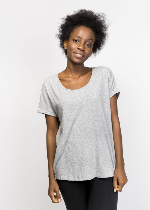 Organic Cotton Loose T-Shirt - Grey Tee - Organic Cotton T-Shirt
