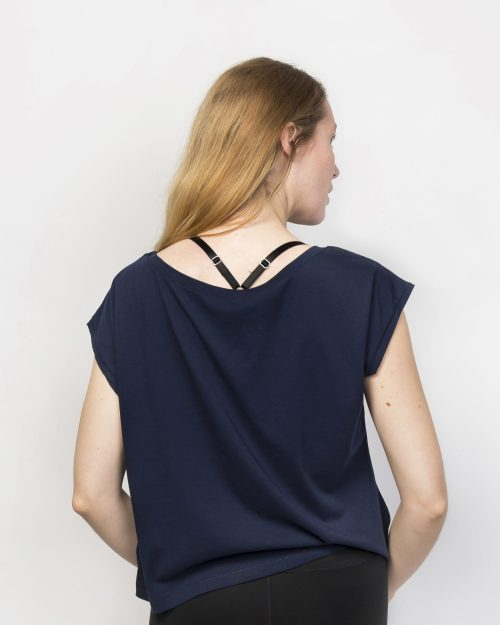 Organic Cotton Cropped Short Sleeve Top | French Navy