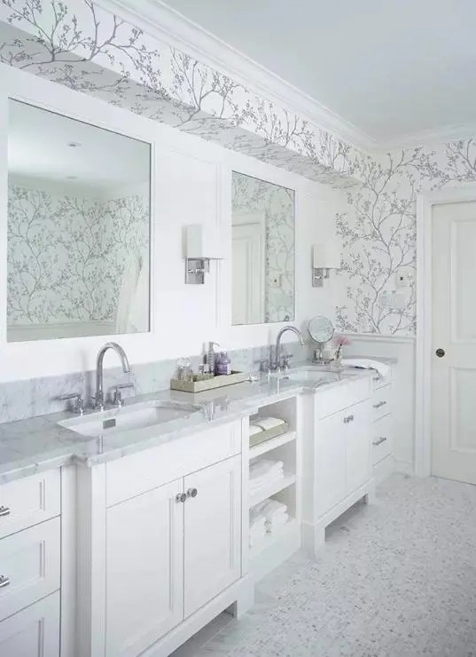 White Marble Bathroom With Contrasting Wallpaper