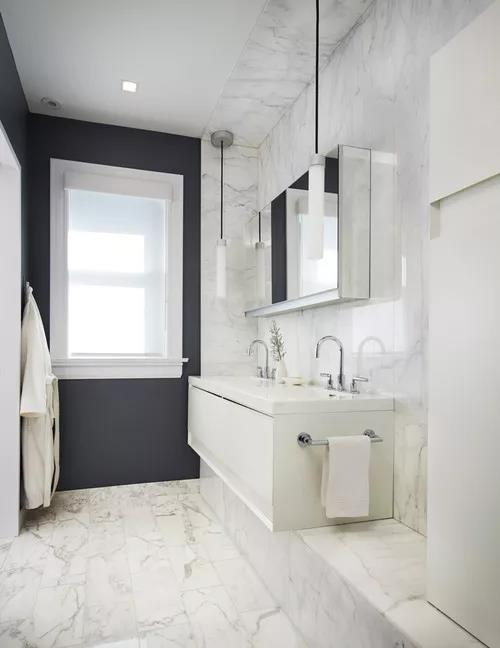 Electic Bathroom With White Marble