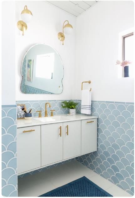 Go Suttle Bathroom Look, moroccan fish scale tile