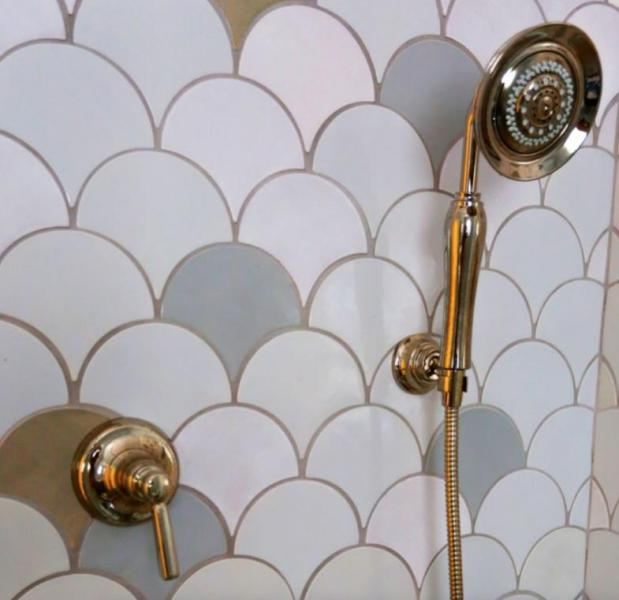 Speckled Coloring fish scale tile, fish scale tile bathroom