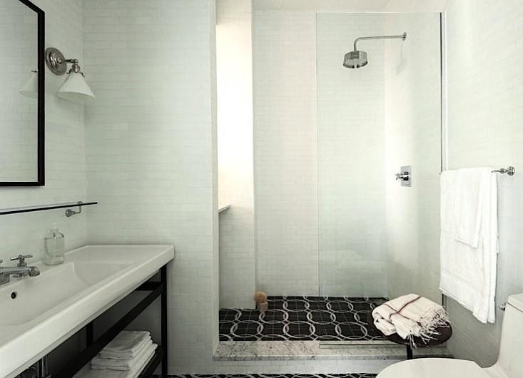 black subway tile shower