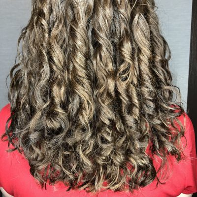 Fine curly hair haircut.