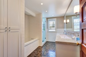 Bath Remodel with 2 Sinks, Soaking Tub, Walk-In Shower and Toilet with Hex Tile Floor and White Subway Wall Tile