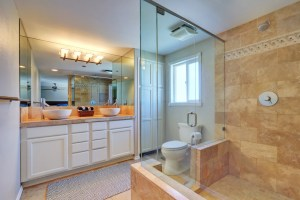 Whole House Remodel with Master Bathroom, including Painted Double Vanity with Vessel Sinks, Linen Closet, Toilet and 2-Person Walk-In Shower with Stone Tile Throughout