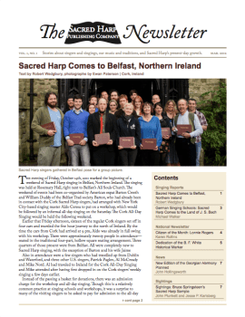 Printable version of the Sacred Harp Publishing Company Newsletter, Vol. 1, No. 1 (1.1 MB PDF).